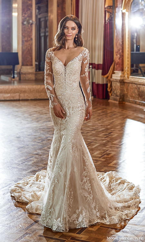 moonlight couture fall 2021 bridal sheer long sleeves off shoulder sweetheart v neckline fully embellished sheath wedding dress chapel train (6) mv