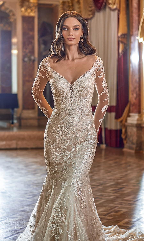 moonlight couture fall 2021 bridal sheer long sleeves off shoulder sweetheart v neckline fully embellished sheath wedding dress chapel train (6) zv