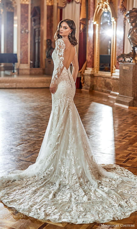 moonlight couture fall 2021 bridal sheer long sleeves off shoulder sweetheart v neckline fully embellished sheath wedding dress chapel train cutout back (6) bv