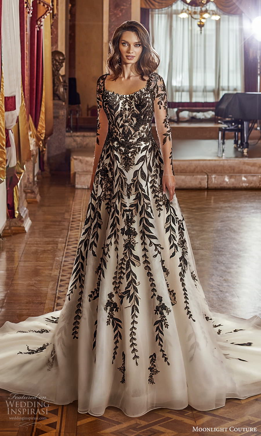 moonlight couture fall 2021 bridal sheer long sleeves square necklnie fully embellished black color a line ball gown wedding dress chapel train (8) mv