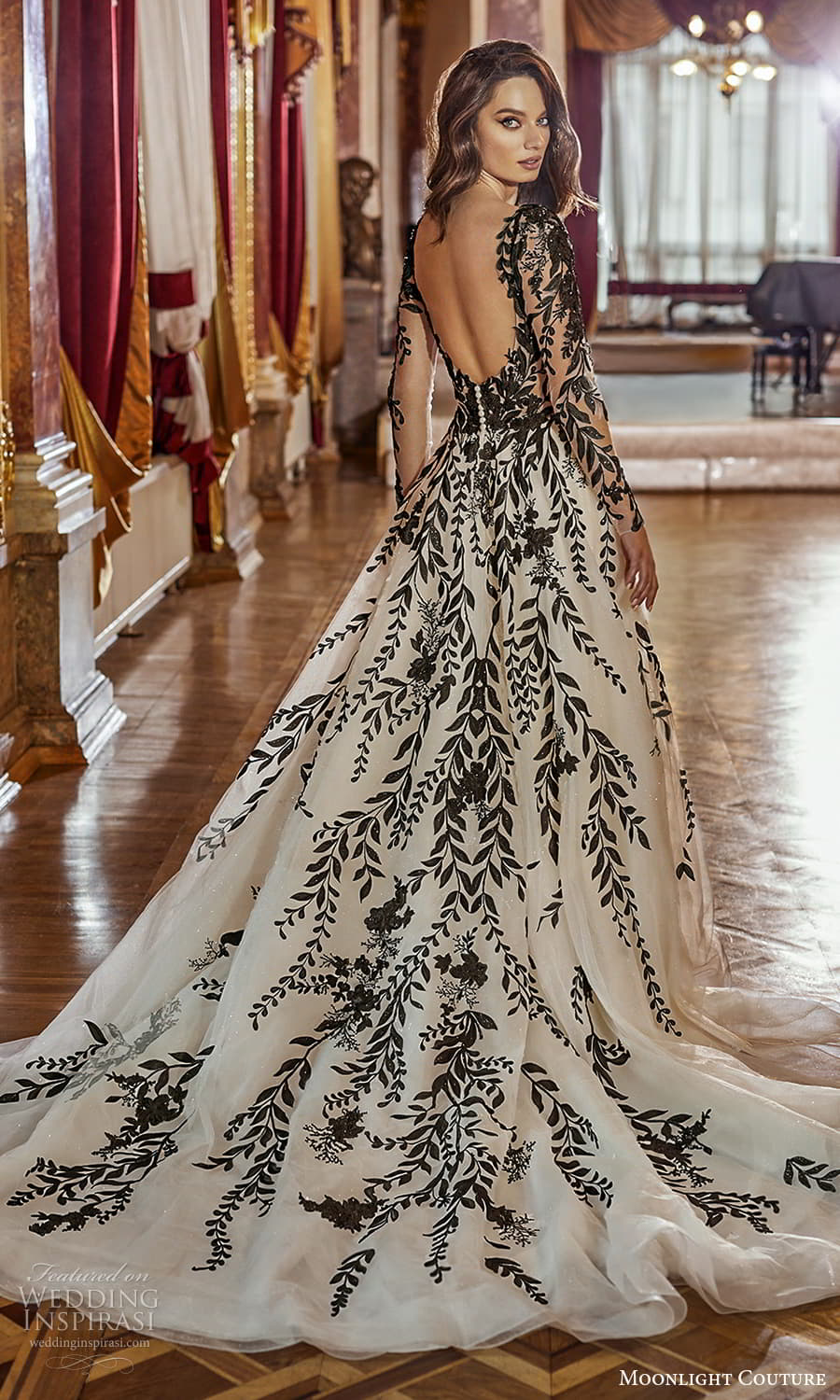 moonlight couture fall 2021 bridal sheer long sleeves square necklnie fully embellished black color a line ball gown wedding dress chapel train scoop back (8) bv