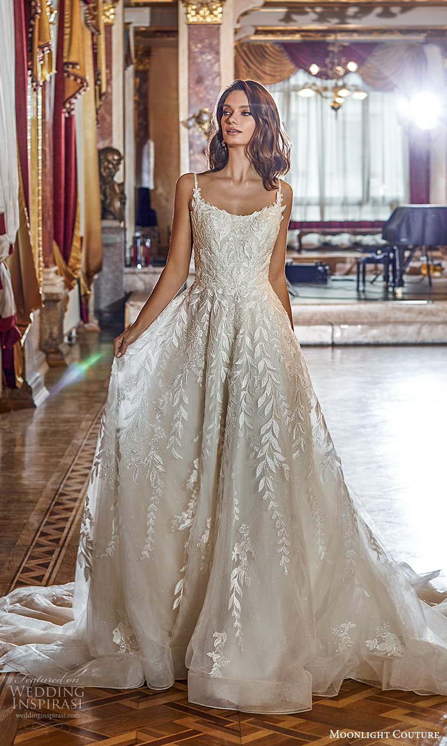 moonlight couture fall 2021 bridal sleeveless straps scoop neckline fully embellished a line ball gown wedding dress chapel train (7) mv