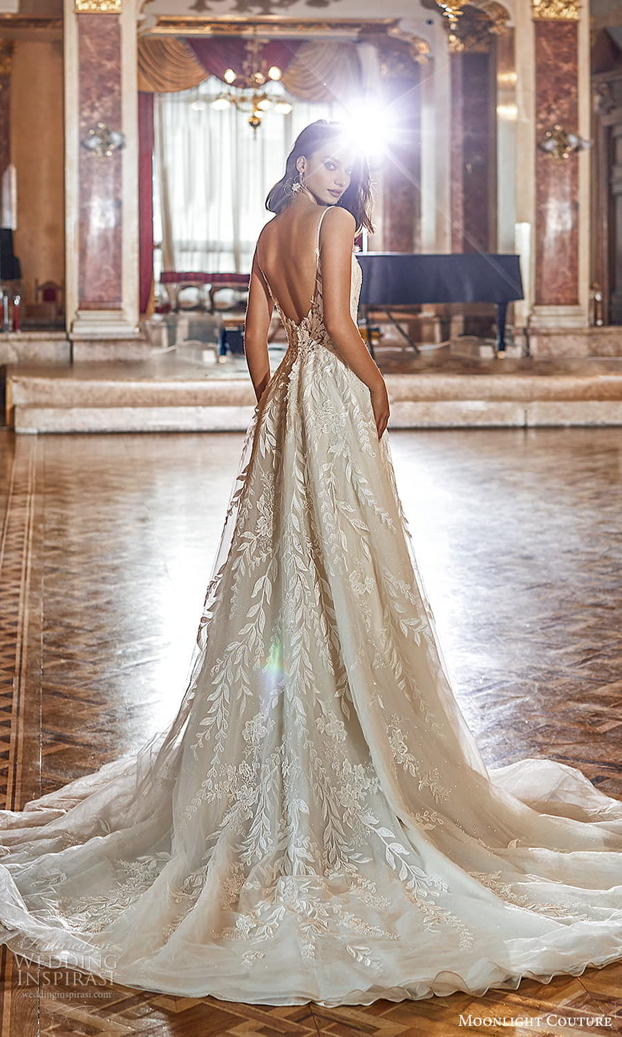 moonlight couture fall 2021 bridal sleeveless straps scoop neckline fully embellished a line ball gown wedding dress chapel train scoop back (7) bv