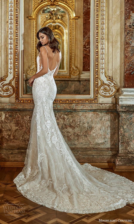 moonlight couture fall 2021 bridal sleeveless straps sweetheart neckline fully embellished sheath wedding dress chapel train (2) bv