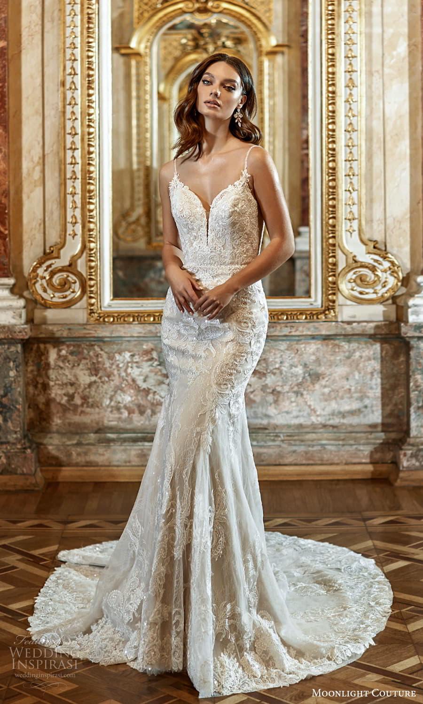 moonlight couture fall 2021 bridal sleeveless straps sweetheart neckline fully embellished sheath wedding dress chapel train (2) mv