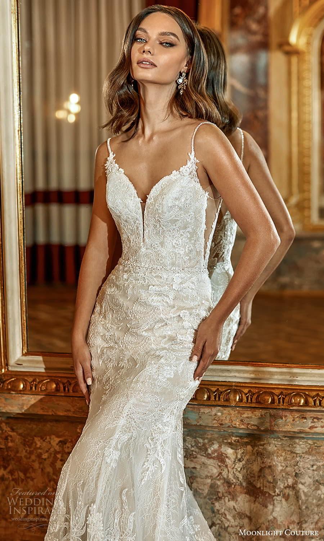 moonlight couture fall 2021 bridal sleeveless straps sweetheart neckline fully embellished sheath wedding dress chapel train (2) zv