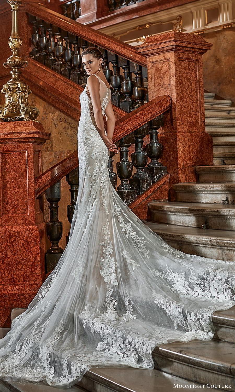 moonlight couture fall 2021 bridal sleeveless straps sweetheart neckline fully embellished sheath wedding dress chapel train (9) bv