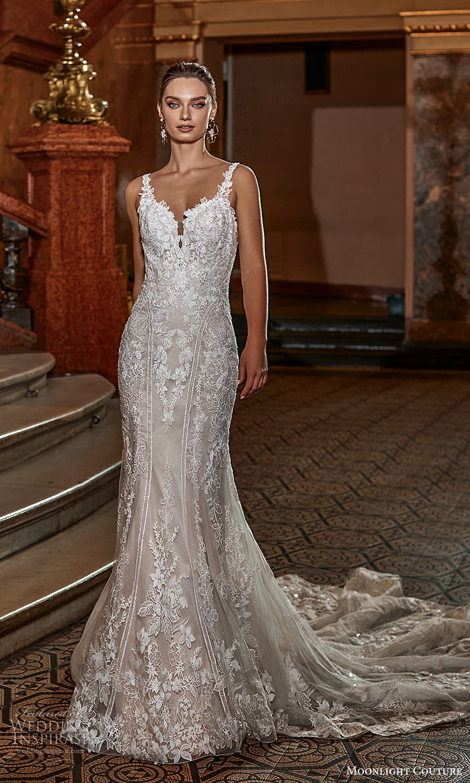 moonlight couture fall 2021 bridal sleeveless straps sweetheart neckline fully embellished sheath wedding dress chapel train (9) mv