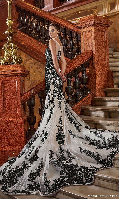 moonlight couture fall 2021 bridal sleeveless straps sweetheart neckline fully embellished sheath wedding dress chapel train black color (10) bv