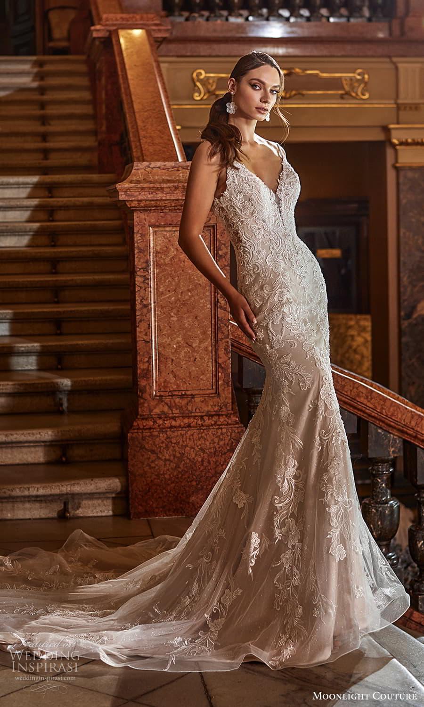moonlight couture fall 2021 bridal sleeveless straps v neckline fully embellished sheath wedding dress chapel train (11) mv