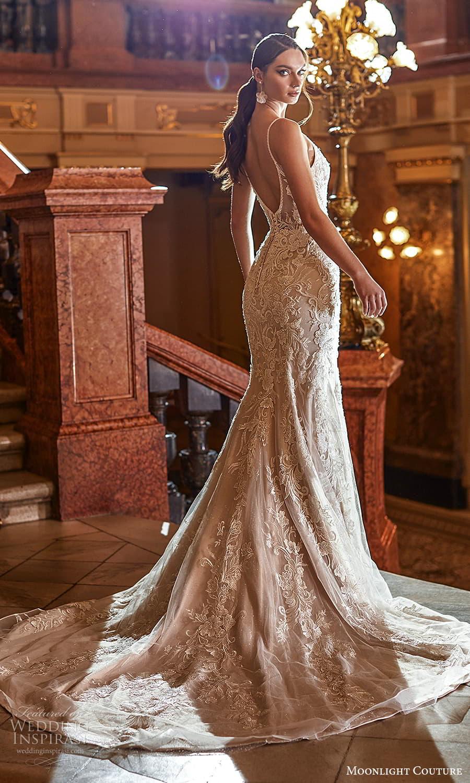 moonlight couture fall 2021 bridal sleeveless straps v neckline fully embellished sheath wedding dress chapel train scoop back (11) bv