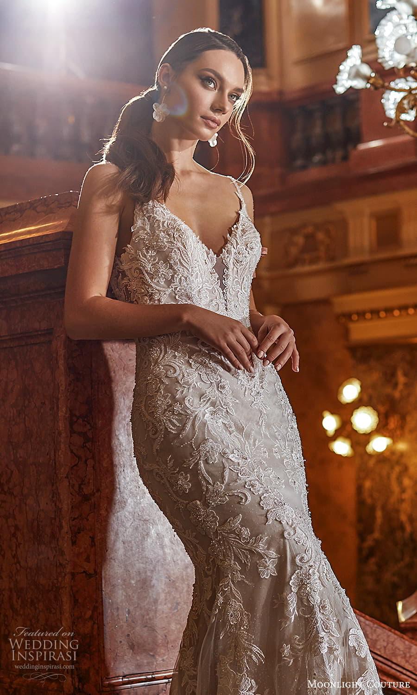 moonlight couture fall 2021 bridal sleeveless straps v neckline fully embellished sheath wedding dress chapel train scoop back (11) zv