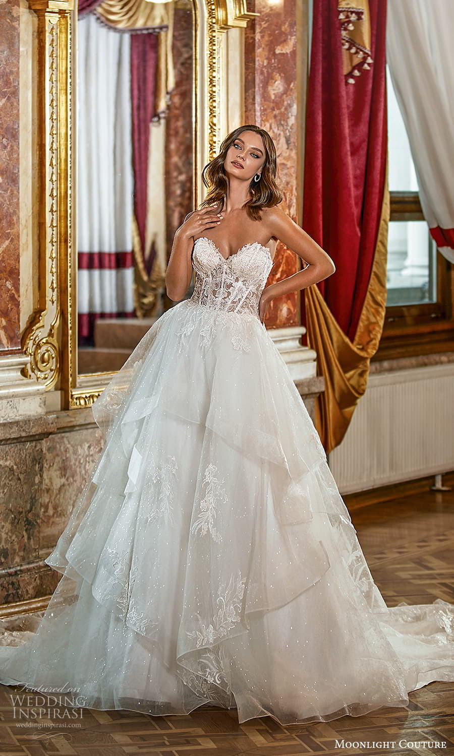moonlight couture fall 2021 bridal strapless sweetheart neckline embellished bodice aline ball gown wedding dress chapel train (4) mv