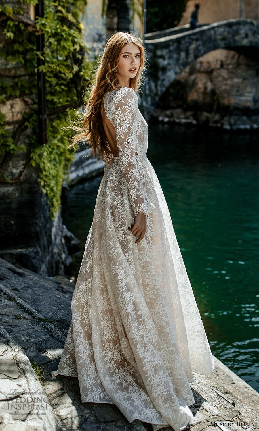muse by berta spring 2022 bridal long puff sleeve plunging v neckline fully embellished lace a line ball gown wedding dress chapel train (5) bv