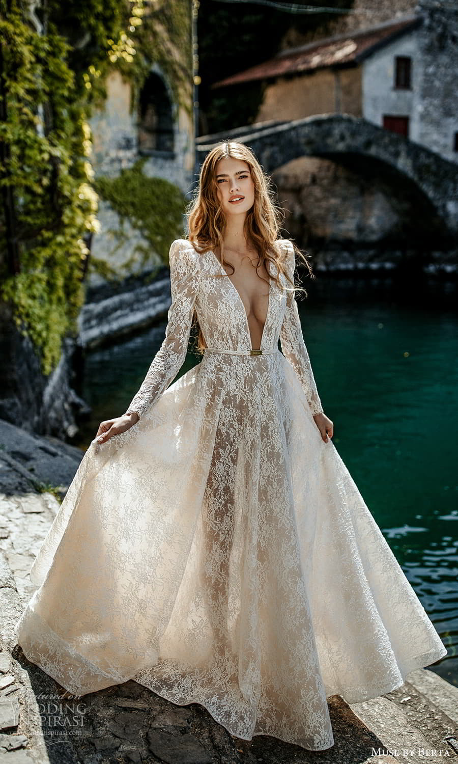 muse by berta spring 2022 bridal long puff sleeve plunging v neckline fully embellished lace a line ball gown wedding dress chapel train (5) fv