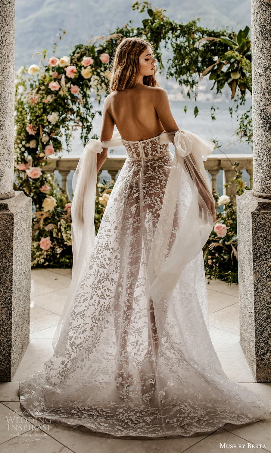 muse by berta spring 2022 bridal off shoulder straps sweetheart neckline fully embellished lace a line ball gown wedding dress chapel train ( 16) bv