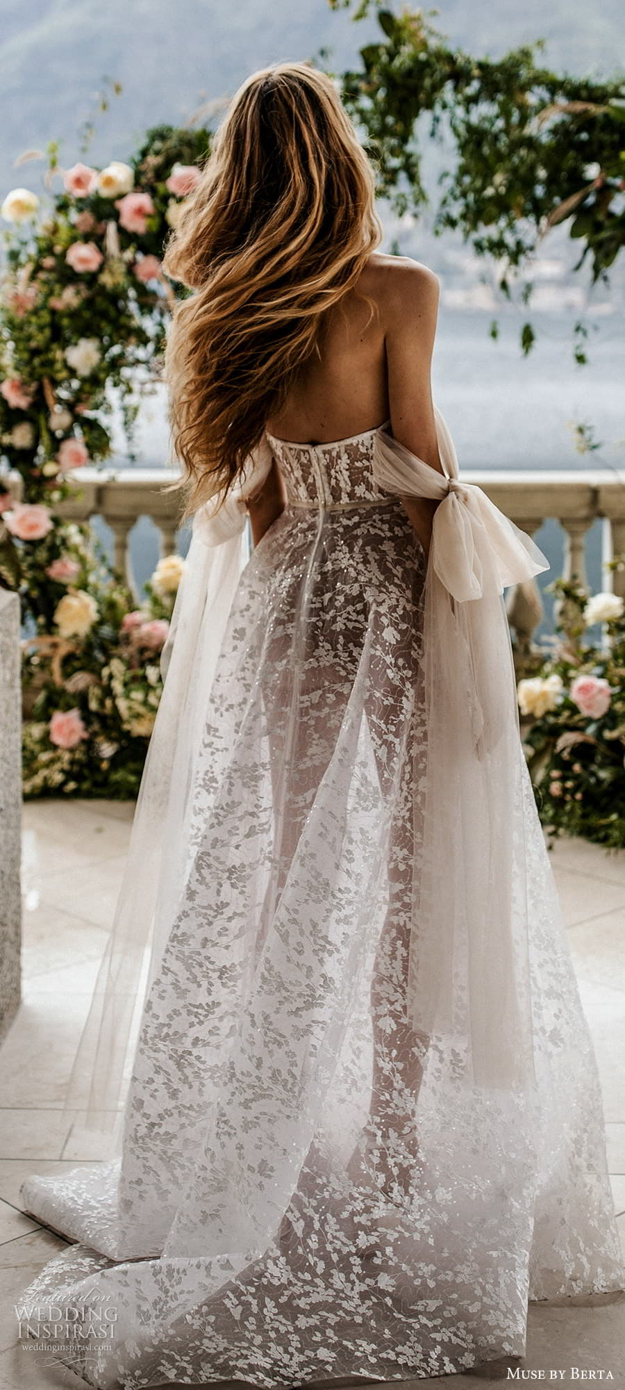 muse by berta spring 2022 bridal off shoulder straps sweetheart neckline fully embellished lace a line ball gown wedding dress chapel train ( 16) lbv