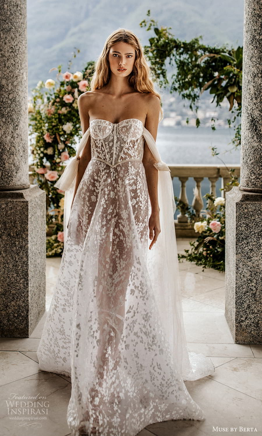 muse by berta spring 2022 bridal off shoulder straps sweetheart neckline fully embellished lace a line ball gown wedding dress chapel train ( 16) mv
