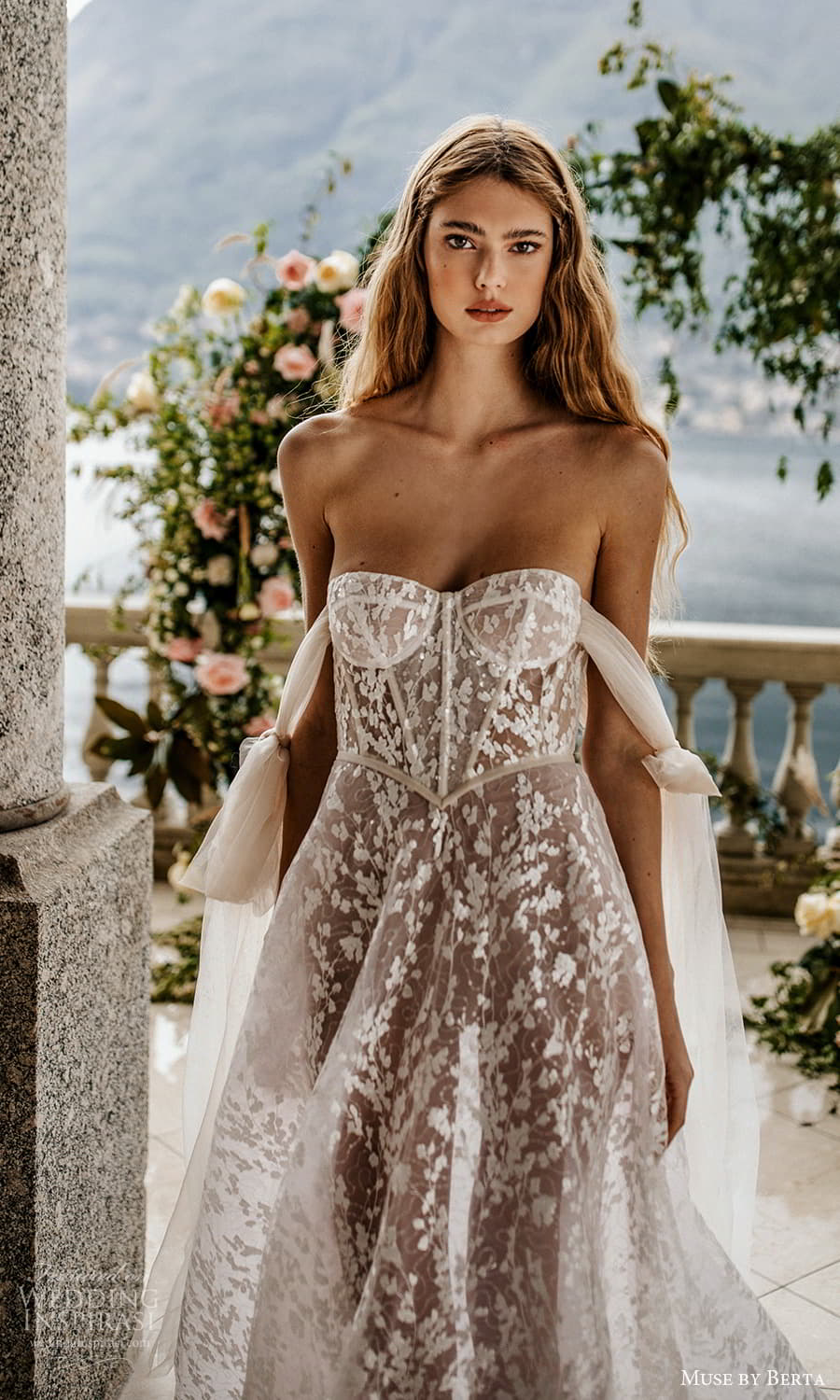 muse by berta spring 2022 bridal off shoulder straps sweetheart neckline fully embellished lace a line ball gown wedding dress chapel train ( 16) zv