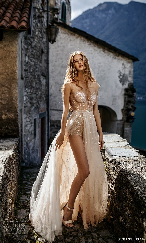 muse by berta spring 2022 bridal sheer cap sleeves sweetheart neckline embellished bodice a line wedding dress slit skirt (15) mv