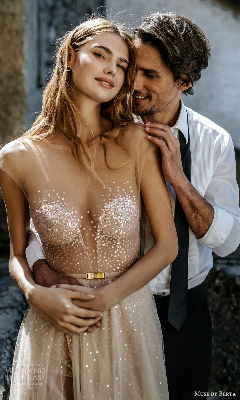 muse by berta spring 2022 bridal sheer cap sleeves sweetheart neckline embellished bodice a line wedding dress slit skirt (15) zv