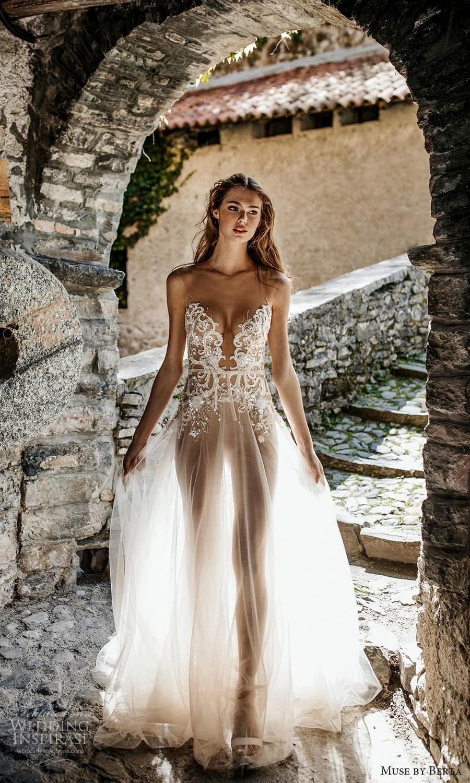 muse by berta spring 2022 bridal sleeveless sheer straps plunging v neckline embellished bodice a line wedding dress chapel train (2) fv