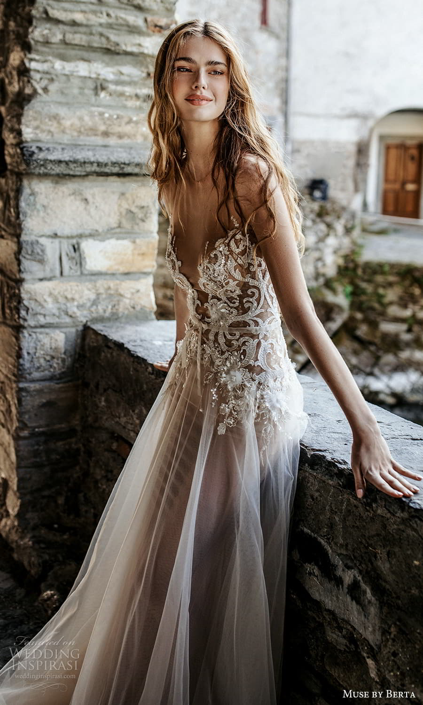 muse by berta spring 2022 bridal sleeveless sheer straps plunging v neckline embellished bodice a line wedding dress chapel train (2) mv