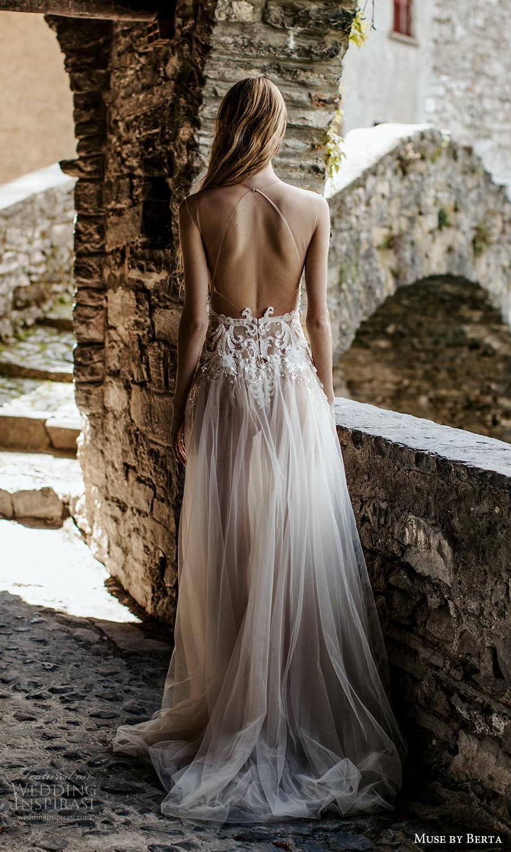 muse by berta spring 2022 bridal sleeveless sheer straps plunging v neckline embellished bodice a line wedding dress chapel train sheer back (2) bv