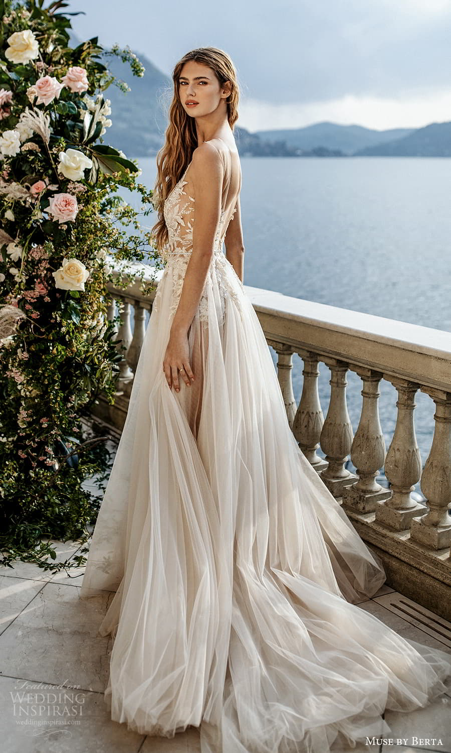 muse by berta spring 2022 bridal sleeveless straps plunging v neckline embellished bodice a line ball gown wedding dress chapel train (10) bv