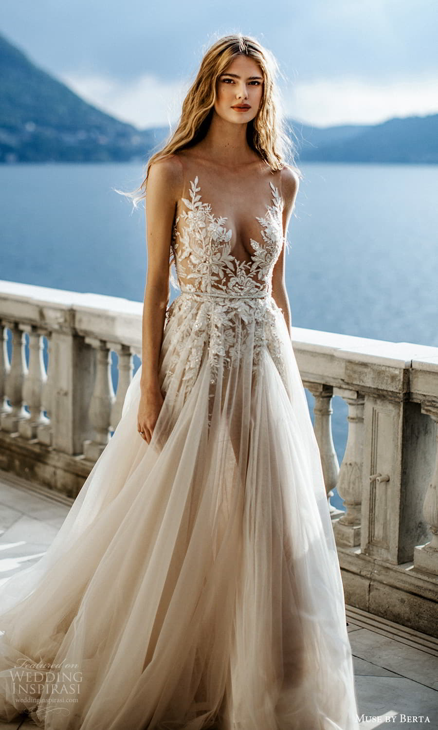 muse by berta spring 2022 bridal sleeveless straps plunging v neckline embellished bodice a line ball gown wedding dress chapel train (10) mv