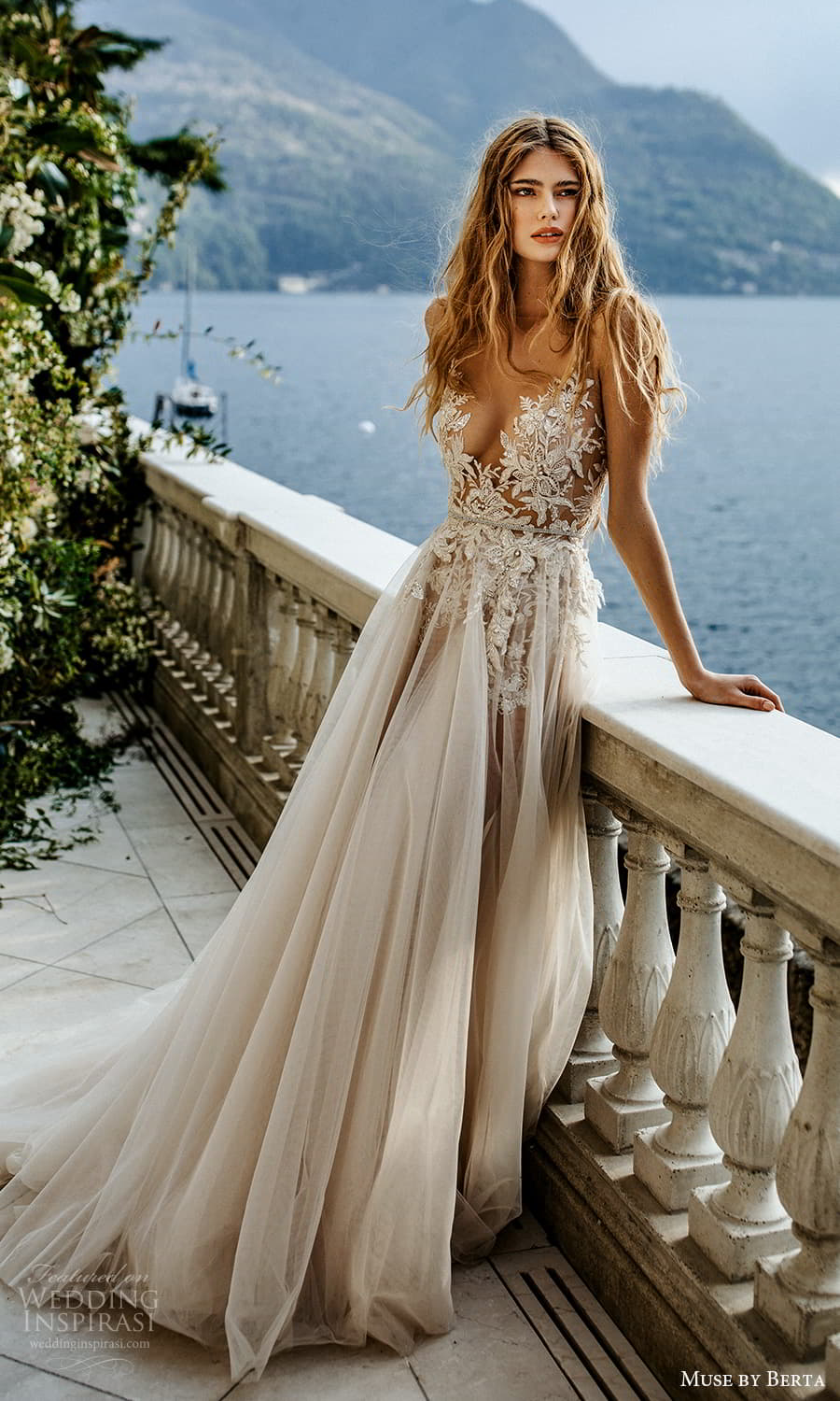 muse by berta spring 2022 bridal sleeveless straps plunging v neckline embellished bodice a line ball gown wedding dress chapel train (10) sv