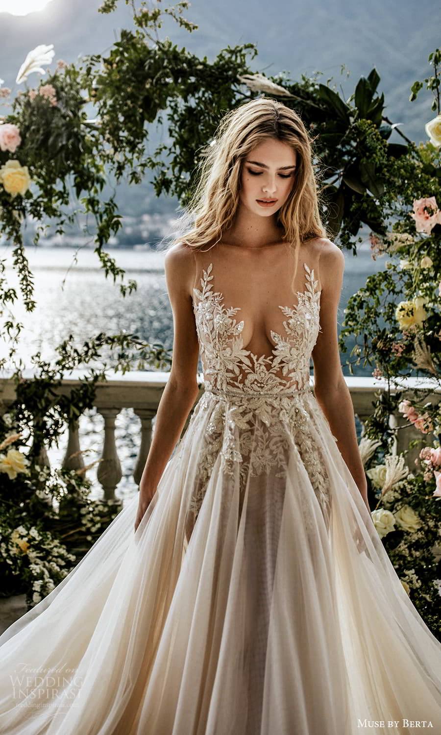 muse by berta spring 2022 bridal sleeveless straps plunging v neckline embellished bodice a line ball gown wedding dress chapel train (10) zv