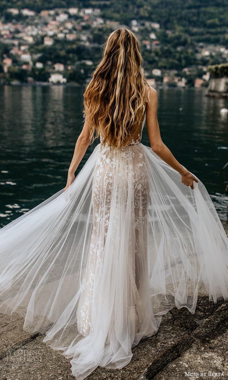 muse by berta spring 2022 bridal sleeveless straps plunging v neckline embellished sheath wedding dress a line overskirt (3) bv