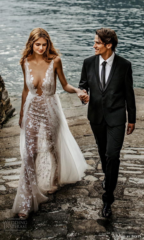 muse by berta spring 2022 bridal sleeveless straps plunging v neckline embellished sheath wedding dress a line overskirt (3) mv