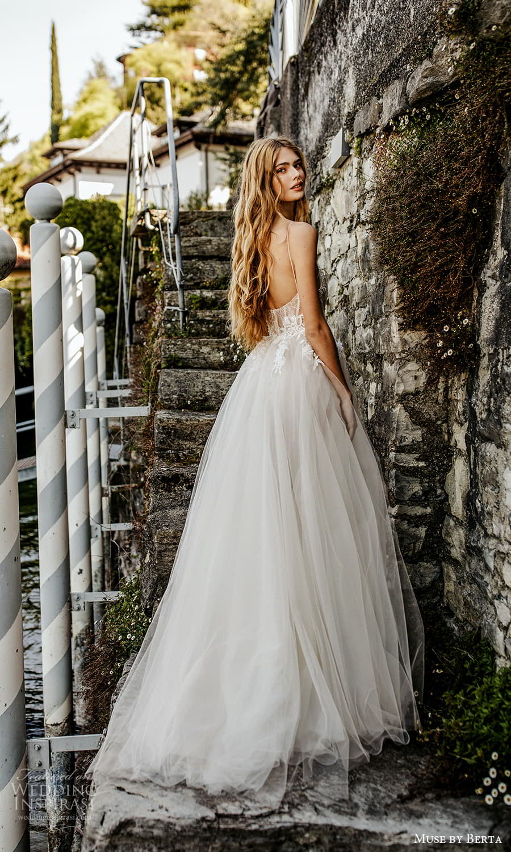 muse by berta spring 2022 bridal sleeveless straps scoop neckline embellished bodice a line ball gown wedding dress slit skirt (11) bv