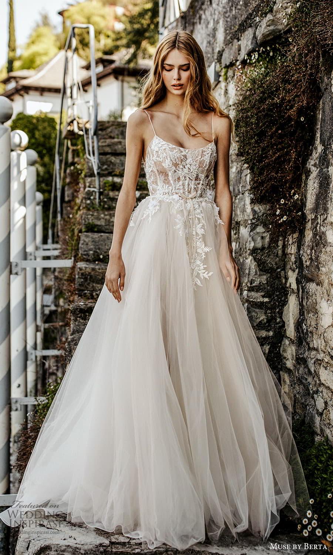 muse by berta spring 2022 bridal sleeveless straps scoop neckline embellished bodice a line ball gown wedding dress slit skirt (11) fv