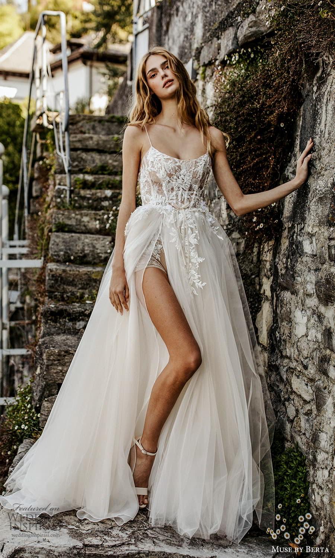 muse by berta spring 2022 bridal sleeveless straps scoop neckline embellished bodice a line ball gown wedding dress slit skirt (11) mv