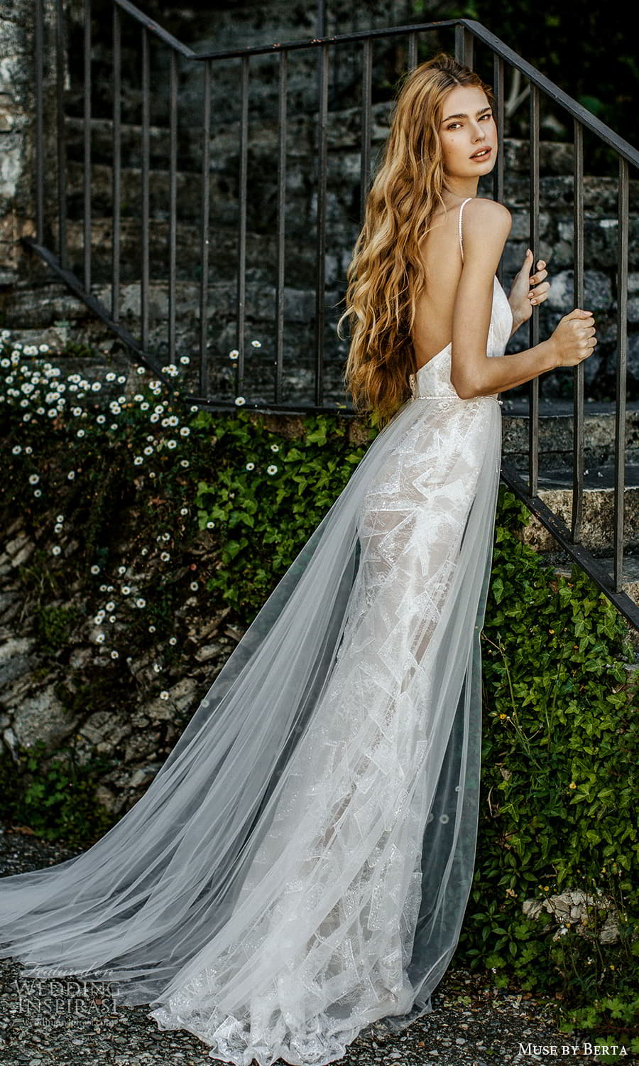 muse by berta spring 2022 bridal sleeveless straps v neckline ruched bodice a line ball gown wedding dress chapel train (12) bv