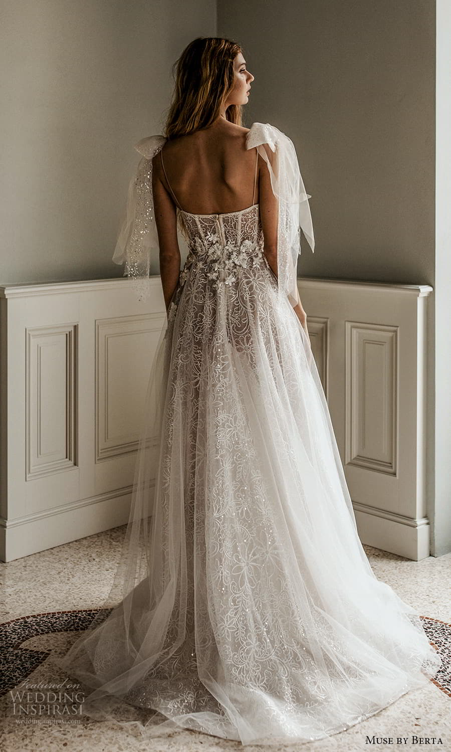 muse by berta spring 2022 bridal sleeveless thin straps semi sweetheart neckline fully embellished a line ball gown wedding dress chapel train (1) bv