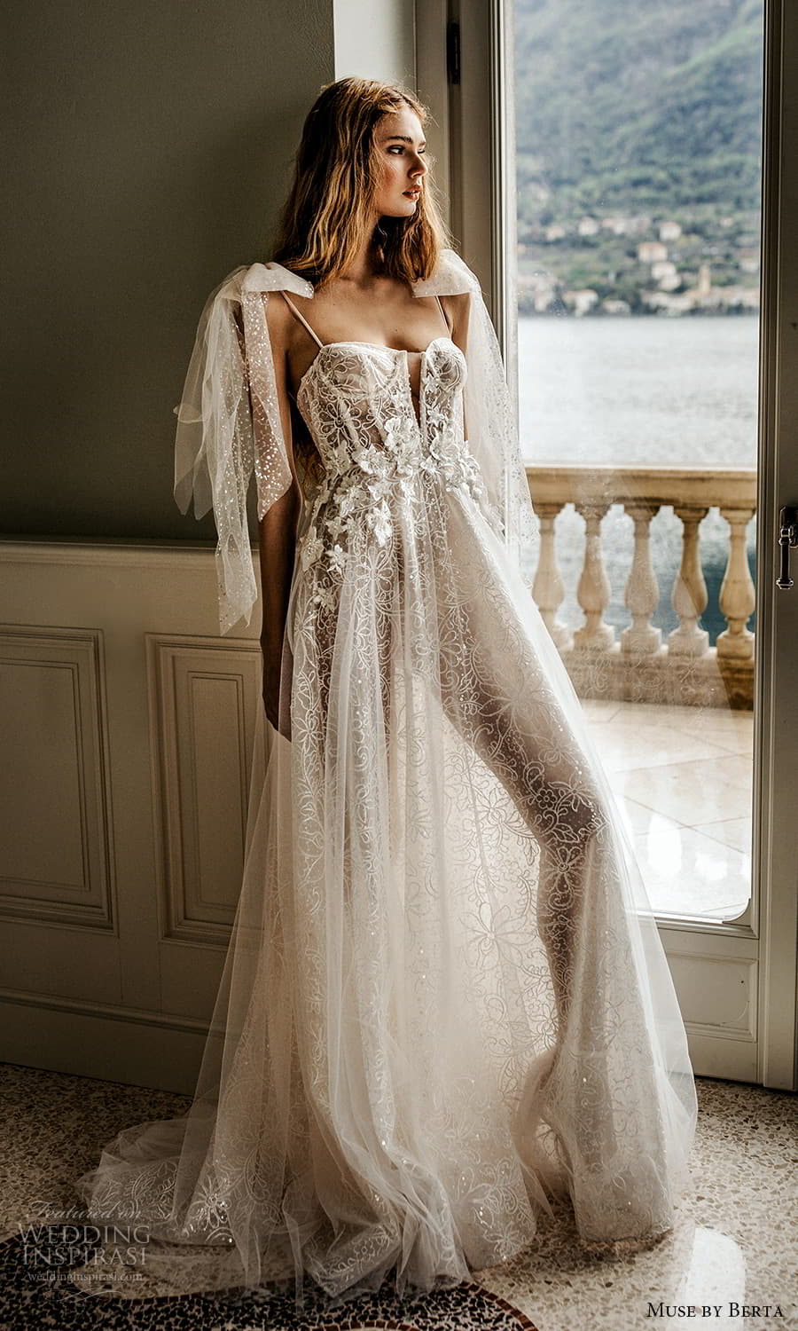 muse by berta spring 2022 bridal sleeveless thin straps semi sweetheart neckline fully embellished a line ball gown wedding dress chapel train (1) mv