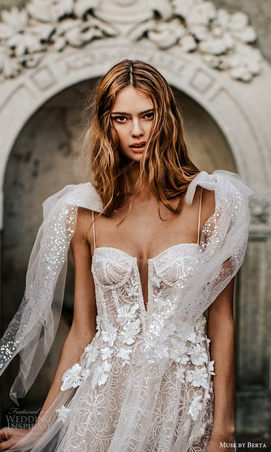 muse by berta spring 2022 bridal sleeveless thin straps semi sweetheart neckline fully embellished a line ball gown wedding dress chapel train (1) zv