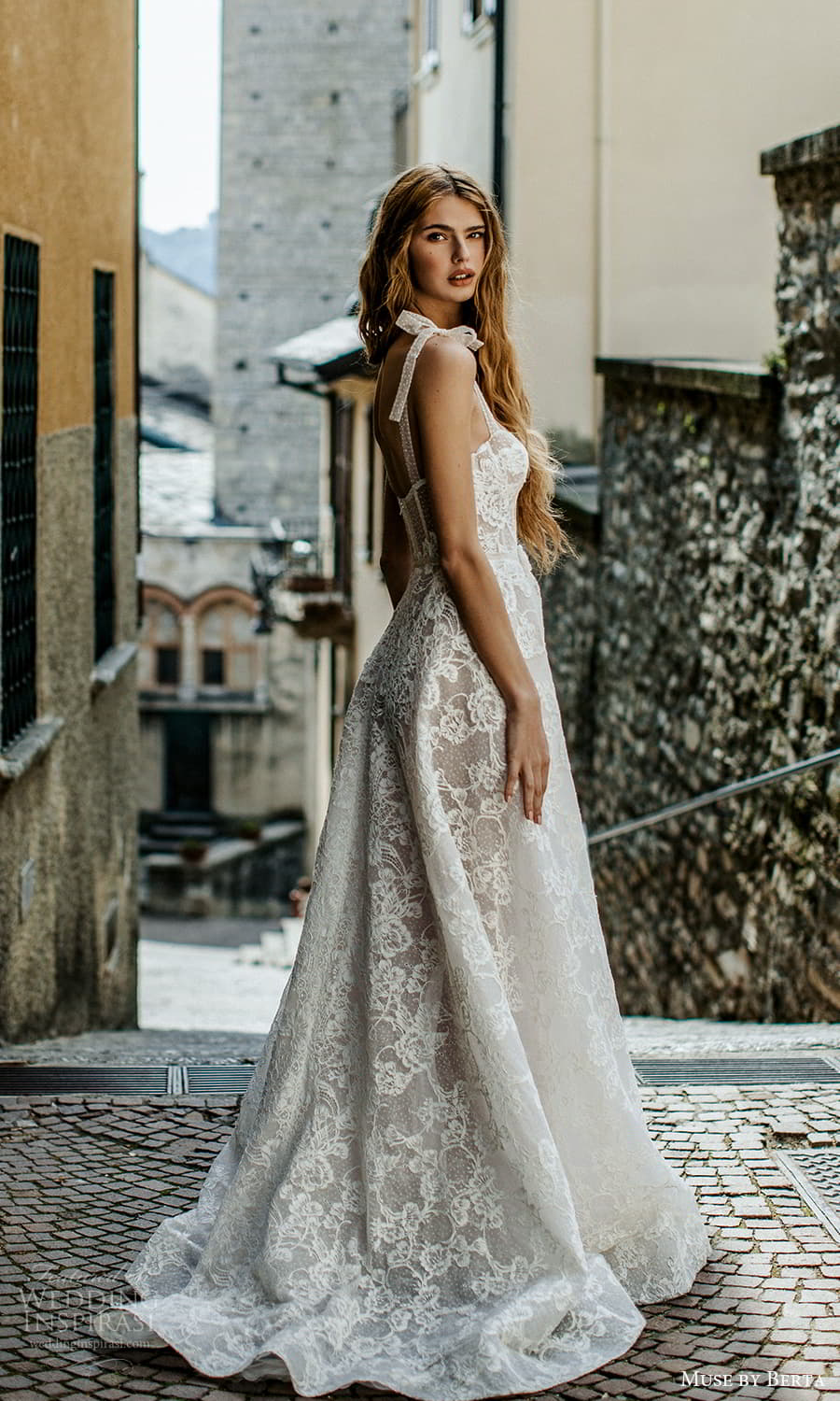 muse by berta spring 2022 bridal sleevelss straps semi sweetheart neckline fully embellished lace a line ball gown wedding dress chapel train (8) bv