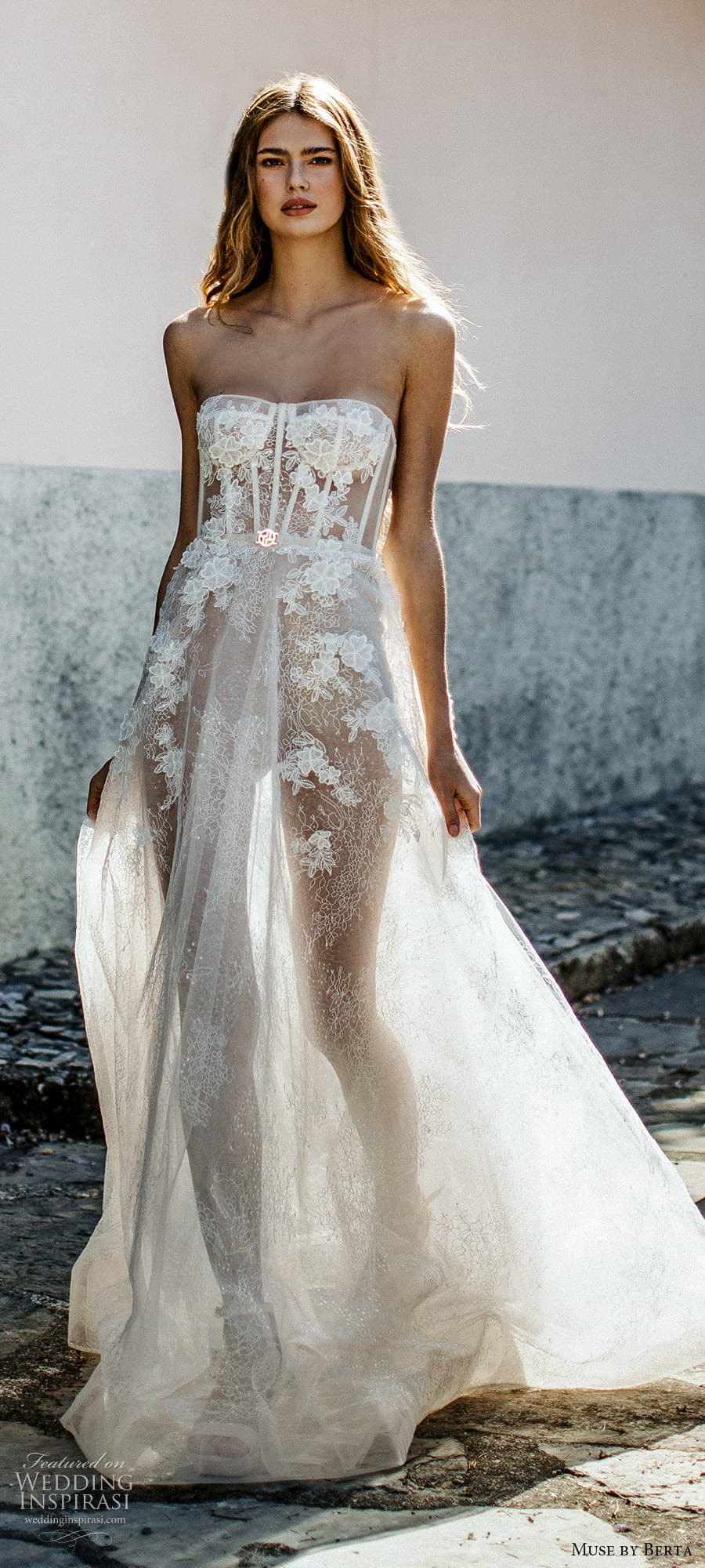muse by berta spring 2022 bridal strapless semi sweetheart neckline fully embellished lace a line ball gown wedding dress chapel train (7) mv