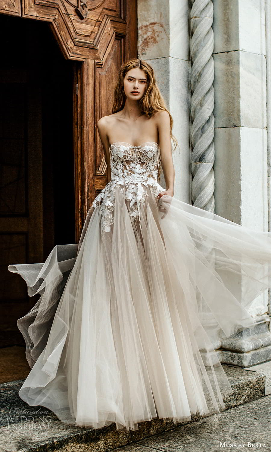 muse by berta spring 2022 bridal strapless sweetheart neckline embellished bodice a line ball gown wedding dress chapel train (13) mv