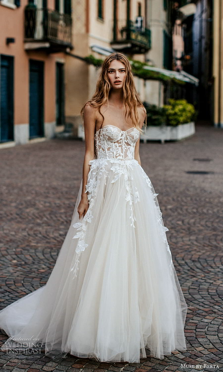 muse by berta spring 2022 bridal strapless sweetheart neckline fully embellished lace a line ball gown wedding dress chapel train (6) mv