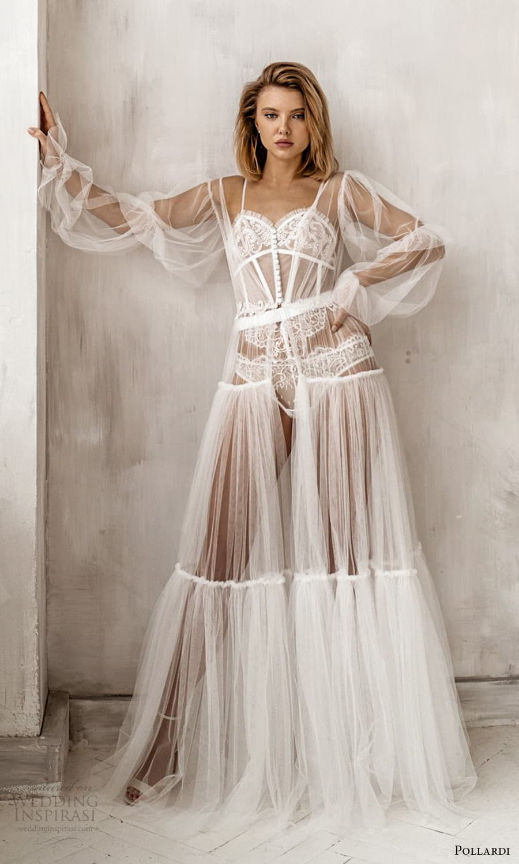 pollardi 2021 boudoir bridal sheer bishop sleeves bridal robe dress (3) fv