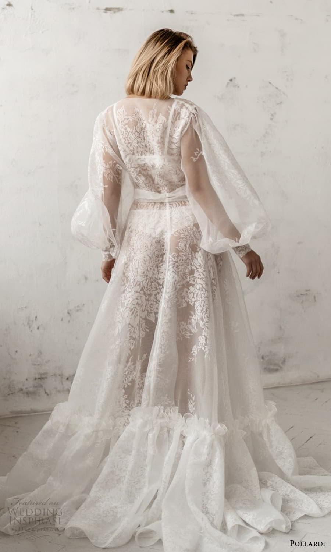 pollardi 2021 boudoir bridal sheer bishop sleeves bridal robe over dress chapel train (4) bv