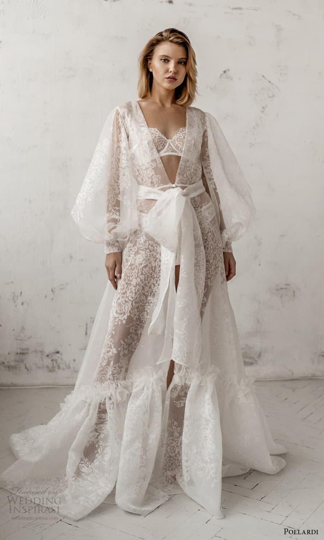 pollardi 2021 boudoir bridal sheer bishop sleeves bridal robe over dress chapel train (4) mv