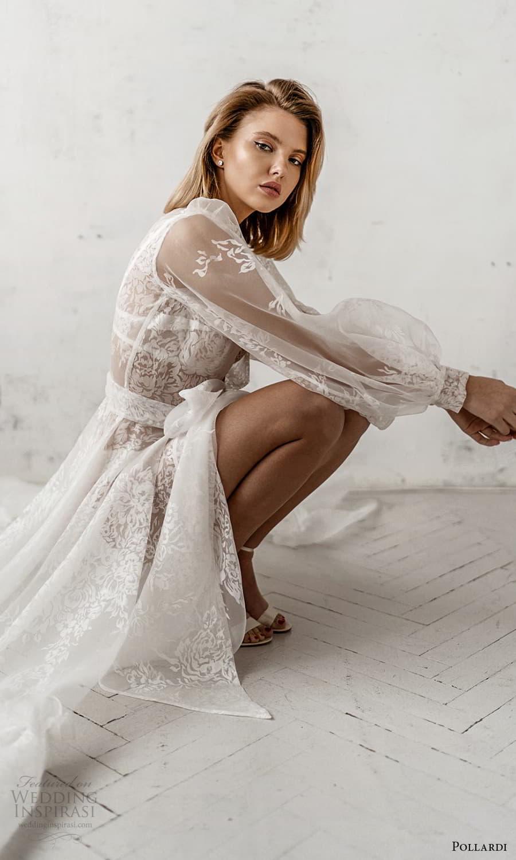 pollardi 2021 boudoir bridal sheer bishop sleeves bridal robe over dress chapel train (4) zsv