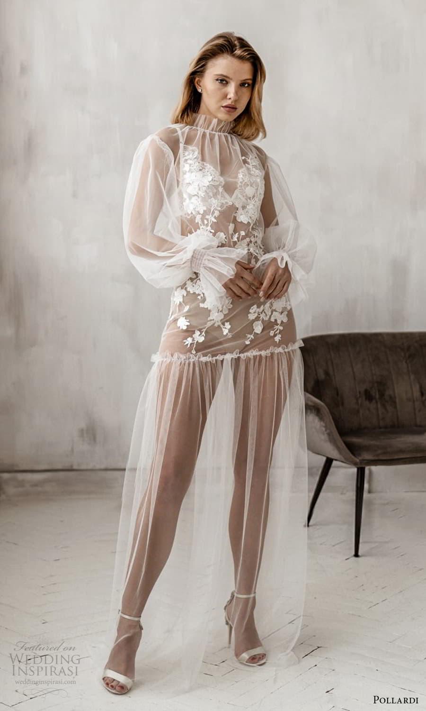 pollardi 2021 boudoir bridal sheer long bishop sleeves high necklie sheer over dress (7) mv